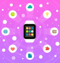 Smart Watch Flat Design Icon vector image vector image