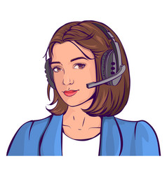support service beautiful young woman head in vector image