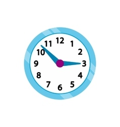 Wall clock with blue rim icon flat style vector image vector image