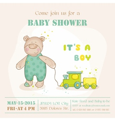 Baby Shower or Arrival Card - with Baby Bear vector image