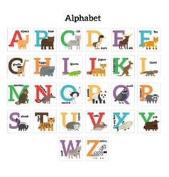 English animals zoo alphabet vector image vector image