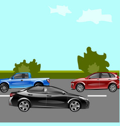 landscape street with cars vector image vector image