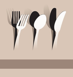 paper cut fork spoon and knife vector image