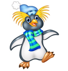 Penguin is standing use a shawl and hat cap vector image vector image