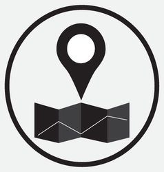 Pin location map monochrome vector image vector image
