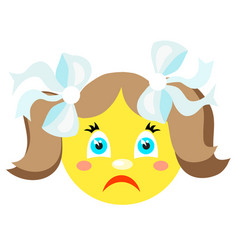 sad smiley girl icons on a white background vector image vector image