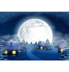 Christmas Winter Big Full Moon Night Landscape vector image vector image