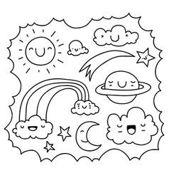 cute sky doodle vector image