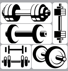 Dumbbell signs set vector
