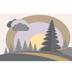 fir tree hills sun cloud vector image vector image
