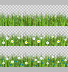 green grass and flowers border set of flat vector image vector image