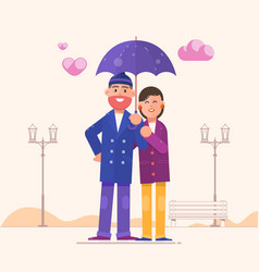 loving couple under an umbrellahappy family vector image