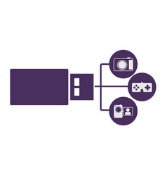 pen drive hosting data center icon vector image vector image