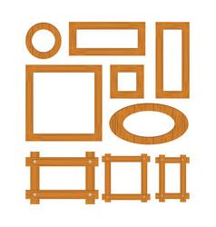 wooden frame set cartoo vector image