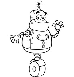cartoon robot waving vector image vector image
