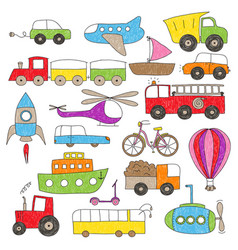 childrens drawing style toy vechicles vector image vector image