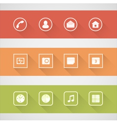 Flat shadow icons set vector image