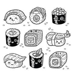 kawaii rolls and sushi manga cartoon set in vector image