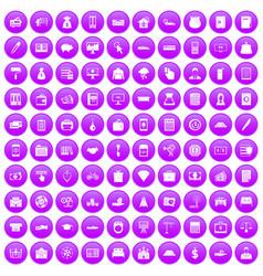 100 credit icons set purple vector