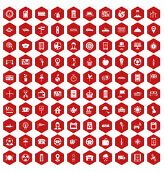 100 taxi icons hexagon red vector image