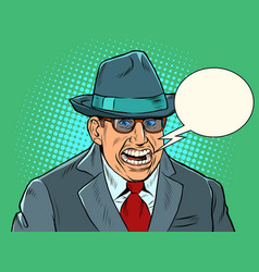 a businessman with a creepy smile fake joy vector image