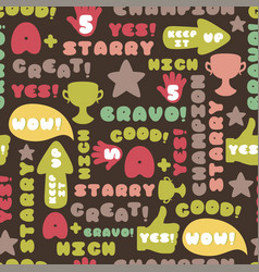achievement school labels seamless pattern vector image