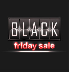 black friday sale sale banner with red neon text vector image