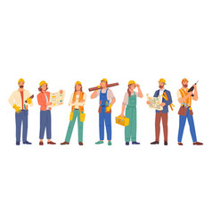 builder and architect construction workers set vector image