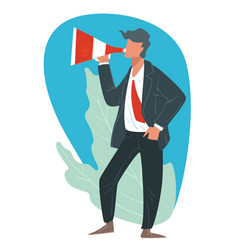 businessman broadcasting with megaphone promotion vector image