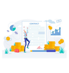 Businessman happy with contract documents signing vector