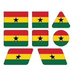buttons with flag of Ghana vector image