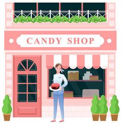 Candy shop woman seller holding chocolate cake vector