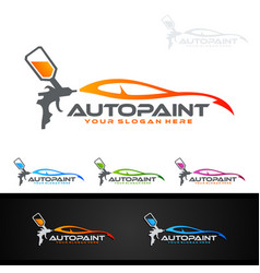 car painting logo with spray gun and sport car vector image