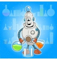 cartoon robot science experiment vector image