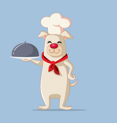 chef dog holding food plate cartoon vector image
