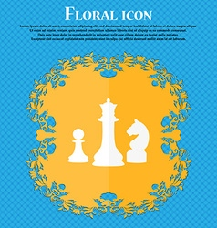 Chess Game icon Floral flat design on a blue vector