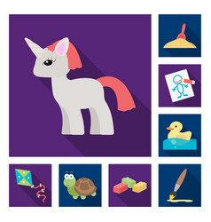 children toy flat icons in set collection for vector image