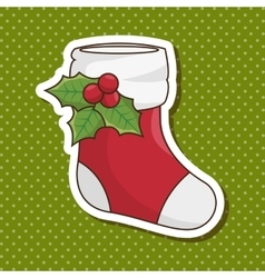 Christmas socks decoration kawaii style vector