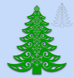 christmas tree cut from paper template for design vector image