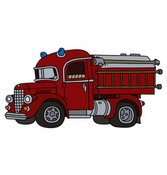 Classic red fire truck vector