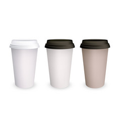 Coffee cup paper mockup 3d isolated models vector