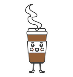 Coffee in plastic cup kawaii character vector