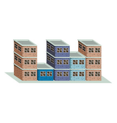 Colorful image realistic set buildings with brick vector