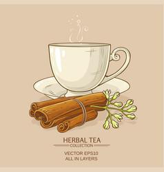 Cup of cinnamon tea vector