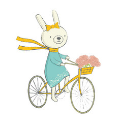 Cute bunny on a bicycle vector