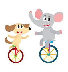 Cute little dog puppy and elephant characters vector