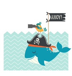 Cute pirates card vector