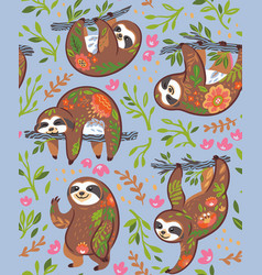 Cute sloths with floral ornament in the jungle vector