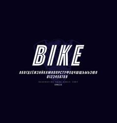 decorative striped italic sans serif font vector image