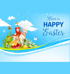 Easter paschal passover lamb greeting card vector